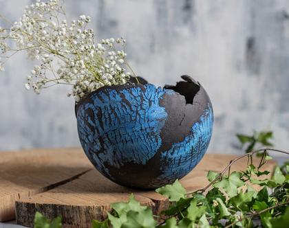 עציץ כדורי מעוצב ענק מקרמיקה בצבע שחור כחול   קערה מקרמיקה  