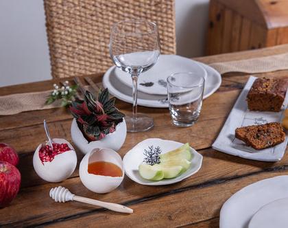 ערכת ראש השנה גדולה - כלים להגשת דבש ורימונים, קערית לתפוחים ומגש לעוגה