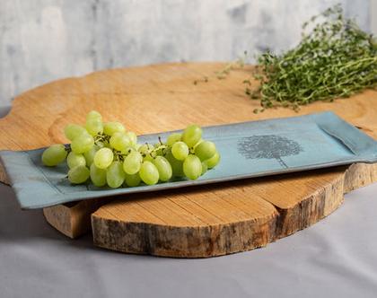 מגש מלבני לעוגה מקרמיקה בצבע תכלת עם הדפסי עץ