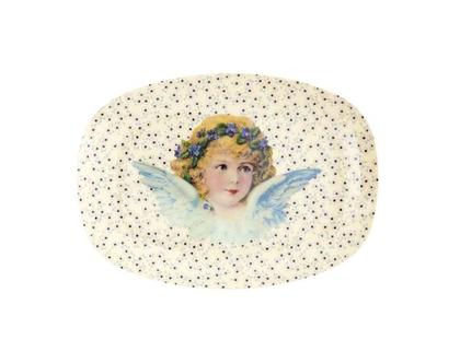 מגש מלמין אובלי קטן הדפס מלאכים לבן | RICE DK