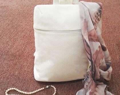 תיק גב מעור איכותי תיק בז' תיק לבן תיק עור תיקי עור תיק גב תיקים מעור תיק לימודים תיק קיץ מתנה לבת
