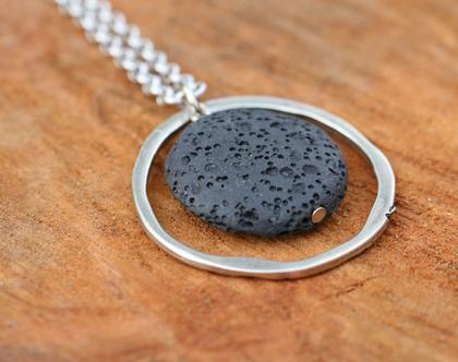 שרשרת כסף קצרה משולבת תליון עגול עם אבן טוף שחורה / N-17