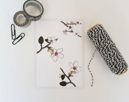גלויה פרחים- שקדייה   גלויה למסגור   עיצוב הבית