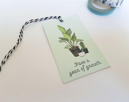 תגית מתנה מאוירת אנגלית - עציצים
