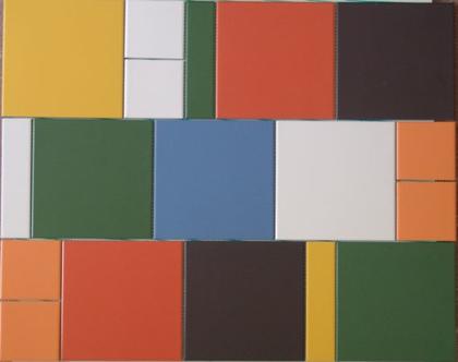 """אריחים צבעוניים מט בגדלים שונים יוצרים מלבן בגודל 60X75 ס""""מ מתאים לחיפוי הקיר שמעל הכיריים במטבח"""