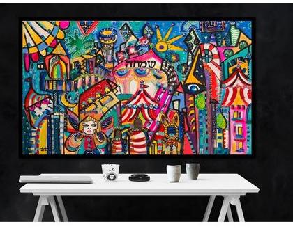 ציורים לבית, ציורים למכירה של האמנית ענבר רייך, הדפס משודרג עם עבודת צבע, אמנות ישראלית מקורית. ציור צבעוני לבית, שם העבודה ישראל בת 70