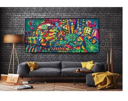 אמנות מקורית לבית, הדפס על בד בטכניקה מעורבת בתוספת נגיעות צבע של האמנית ענבר רייך/ אמנות ישראלית