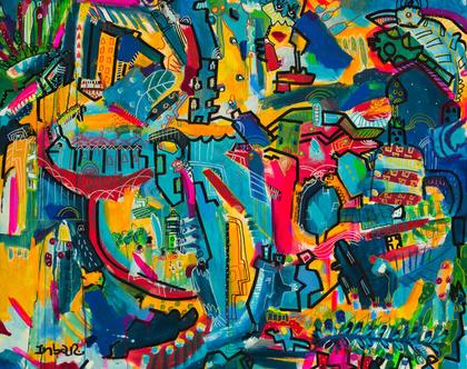 ציורי גדול לסלון / ציורי קנבס לבית / הדפס משודרג/ ציורעל קנבס/ ענבר רייך אומנות מקורית