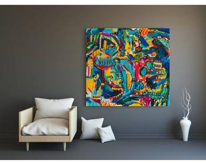 ציור צבעוני לבית של האמנית ענבר רייך , הדפס ייחודי בשילוב עבודת צבע, אמנות ישראלית מקורית. תמונה לבית, שם העבודה : חושים 130/130סמ