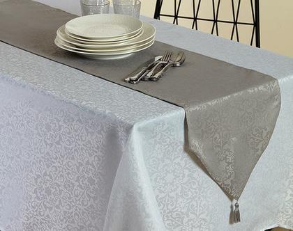 מפת שולחן עם ראנר | מפת שולחן ג'קארד | מפה קלאסית |