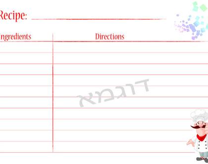 כרטיסיה לכתיבת מתכונים   מתכונים שאוהבים   הדפסה ביתית