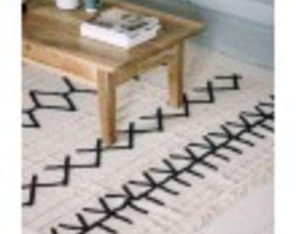 שטיח לחד ילדים, שטיחי כותנה לחדר ילדים, שטיחים סקנדינבים, עיצוב נורדי, שטיח מעוצב לחדר ילדים, שטיח שחור לבן