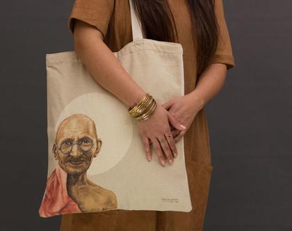 תיק צד מעוצב, תיק כותנה קנבס, תיק שק, תיק מודפס, גנדי