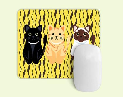 פד מעוצב לעכבר | משטח לעכבר מחשב דגם חתולים צהוב