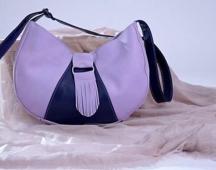 תיק צד לנשים סגול מעוצב מעור אמיתי בעבודת יד