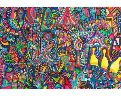 ציור ענק לבית של האמנית ענבר רייך, ציורים מקוריים למכירה , הדפס משודרג, אמנות ישראלית מקורית, שם העבודה משחק החיים גודל - 200/100