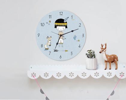 שעון קיר לחדר ילדים דגם אינדיאני, שעון קיר עגול לחדר של ילד