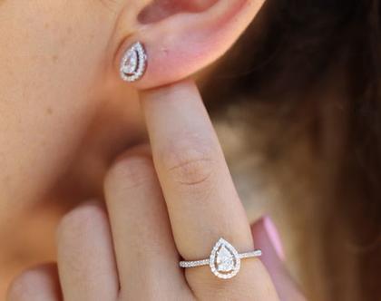 טבעת טיפה כסף טהור