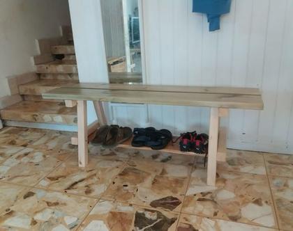 ספסל נעליים מעץ מלא
