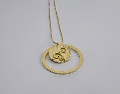 שרשרת מטבע מרוקע, כסף בציפוי זהב