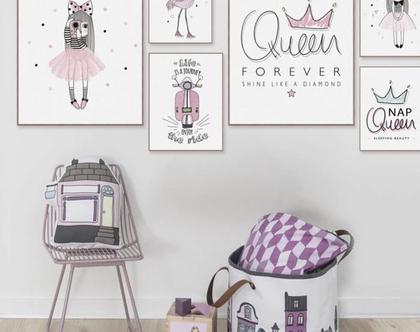 תמונה לחדר ילדים, פוסטר לחדר ילדים, תמונה לחדר ילדות, תמונות לחדר ילדים, תמונת נסיכה עם חד קרן