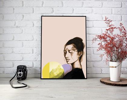 פוסטר, הדפס ציור מקורי, עיצוב הבית, תמונה צבעונית, ציור פורטרט, פורטרט של אשה יפנית
