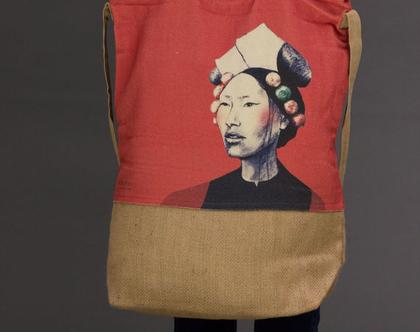india love, תיק צד מעוצב, תיק כותנה קנבס, תיק שק, תיק מודפס, אשה טיבטית, תיק טבעי, תיק נשים, תיק מיוחד
