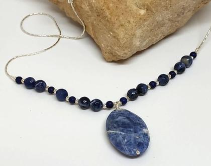 שרשרת כסף עם אבני חן- תכשיט כסף עבודת יד, תליון אבן חן כחולה