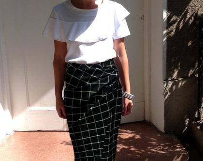 חצאית רול, חצאית מעטפת, חצאית מידי משובצת, חצאית שחורה