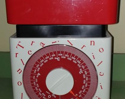 משקל למטבח וינטג'/משקל מטבח אדום-לבן
