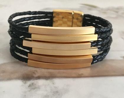 צמיד חוטי עור וצינורות זהב
