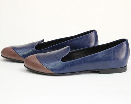 """נעלי סירה """"אף"""" כחול"""
