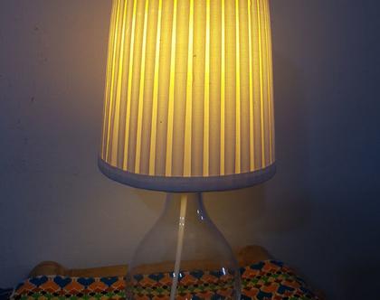 מנורת שולחן/ לילה מזכוכית עם אהיל בהיר