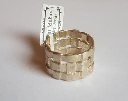טבעת נישואים מכסף, טבעת קלועה, טבעת מעוצבת, טבעת גדולה לאישה, טבעת נישואין, טבעת רחבה, טבעת נישואים לאישה, טבעת עם נוכחות, טבעת בעבודת יד