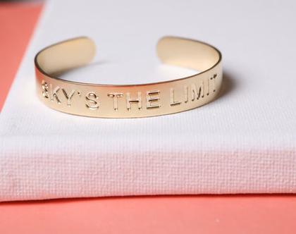 צמיד SKY'S THE LIMIT / צמיד השראה / צמיד מתנה / צמיד פתוח / תכשיט לאישה / מתנת יום הולדת/ צמיד להצלחה / תכשיט ליום יום