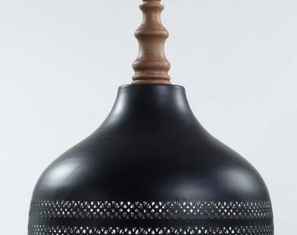 מנורתפעמון רשת בצבע שחור בעיצוב אלגנטי | מנורת פעמון שחורה | עיצוב נורדי