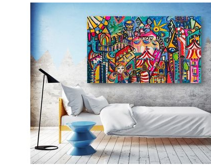 אמנות לבית , ציורים צבעוניים, תכשיטים לקירות, עיצוב חדר ילדים, ענבר רייך אמנית ישראלית, ציור נאיבי , ציורים גדולים לבית .