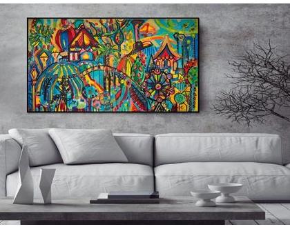 תמונה גדולה לבית, הדפס בד בתוספת צבע של האמנית ענבר רייך, , תכשיטים לקירות של הציירת ענבר רייך ,ציורים צבעוניים, ציור מקורי, אמנות ישראלית