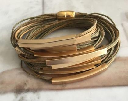 צמיד חוטי כותנה בשילוב צינורות ומגנט זהב