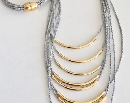 שרשרת חוטים בשילוב צינורות זהב