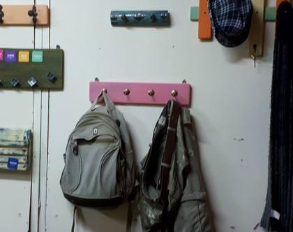 מתלה מעץ למעילים / בגדים / תיקים - ורוד