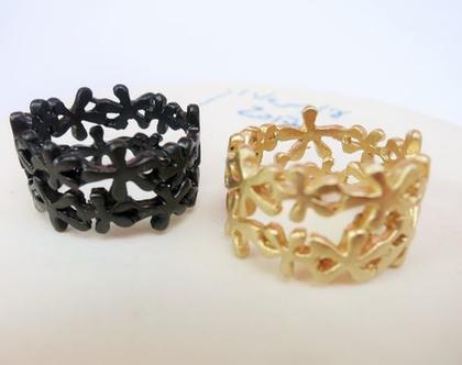 טבעת פרחים שחורה עדינה טבעת רחבה ומיוחדת בעבודת יד