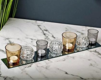 מגש מראה 7 כוסות צבעוניות לנרות – ROSE