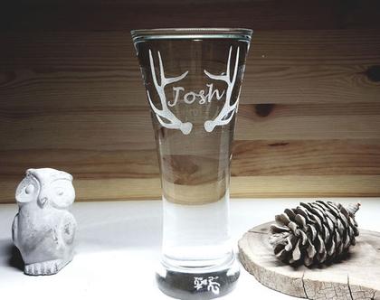 כוס זכוכית בירה |פילזנר | חריטה בעבודת יד