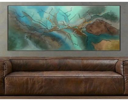 """""""איים"""" - ציור אבסטראקטי בעבודת יד של איים עם טקסטורות מובלטות וצבעים מרהיבים.."""