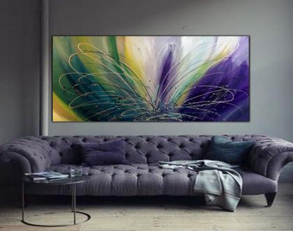 """""""צבעונית"""" - תמונת אבסטרקט מיוחדת בעבודת יד בצבעים חיים."""