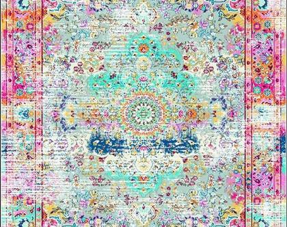 שטיח מסיבים סינתטיים - אבל מהמם! 120*180, קטיפתי מבריק, דוחה נוזלים, כביס! רקע בהיר ואלמנטים בתכלת, אדום, כחול ועוד
