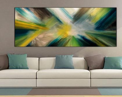 """""""ברקים"""" - ציור אבסטרקטי מיוחד בעבודת יד בצבעים שוקקים."""