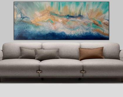 """""""וולקנו"""" - תמונת אבסטרקט מיוחדת בעבודת יד במגוון צבעים מעוררים."""