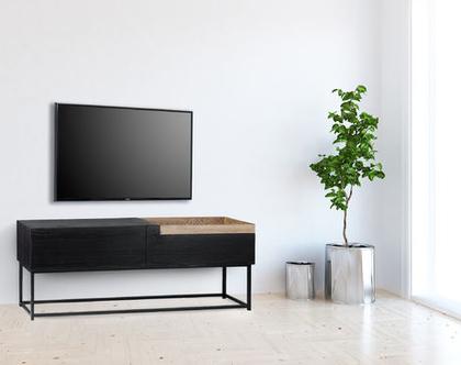 מזנון טלוויזיה מעץ ומתכת